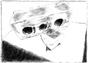 Charcoal drawing of bánh chưng