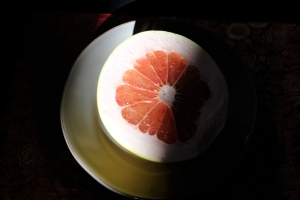 Cross-section view of pomelo