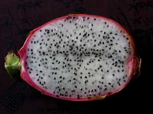 Cross-section view of dragon fruit